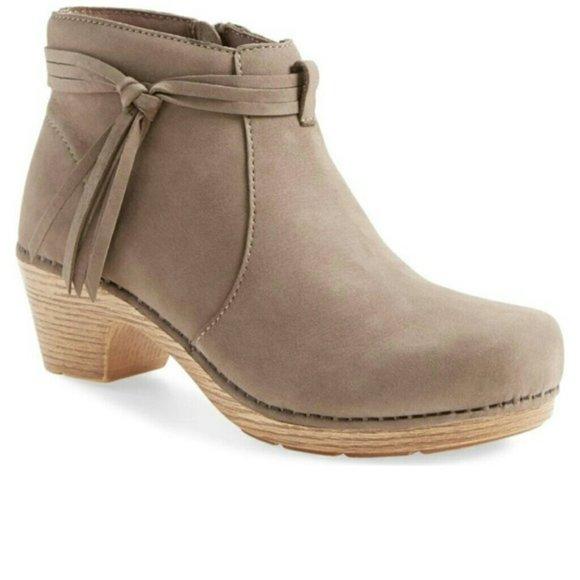 Dansko Shoes - DANSKO Markie Taupe Side Zip Tassel Boot